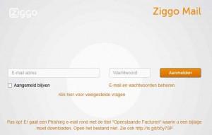 Ziggo webmail inlog scherm