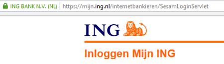 ING inloggen scherm
