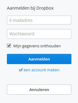 Dropbox login inlogscherm